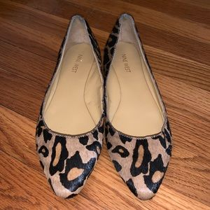 Pointed toe Nine West cheetah flats